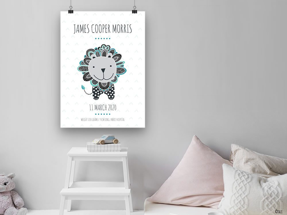 DIY birth-print-lion-grey