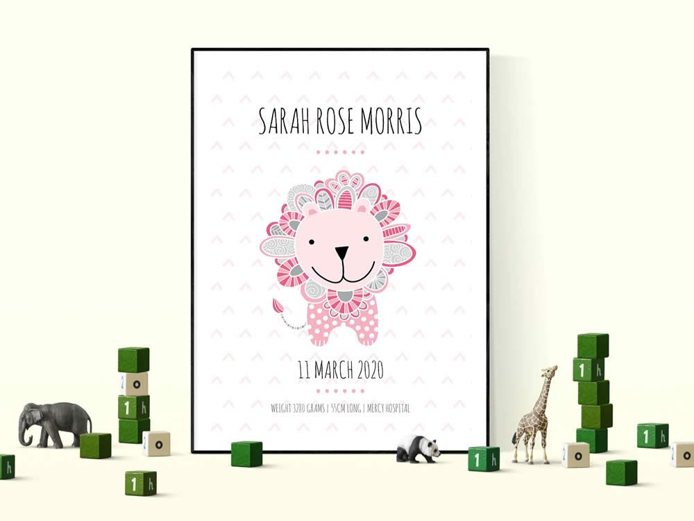 DIY birth-print-lion-pink
