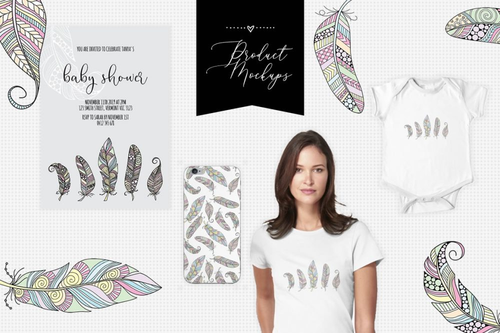 DIY feathers mockup