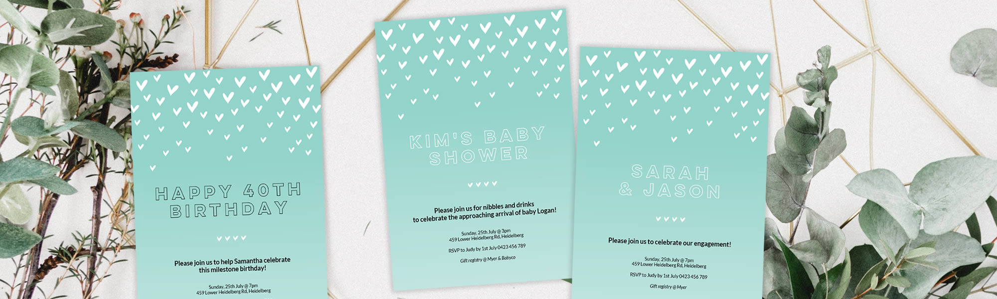 Birthday, baby shower or wedding invitation with green hearts
