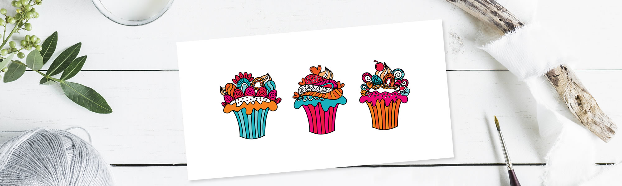 Celebrate with cupcakes illustration